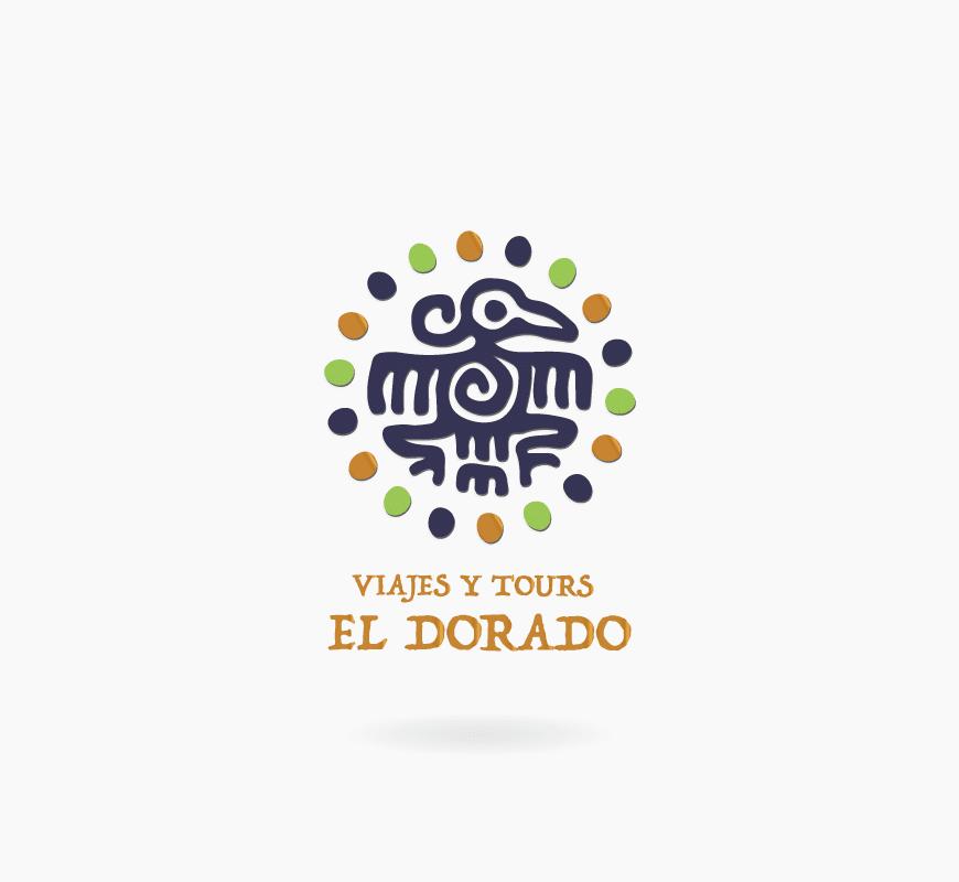 diseño logo viajes dorado